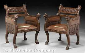 0205 Pair Antique Carved Walnut Armchairs