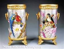 0289 Pair of French Aesthetic Garniture Vases