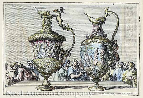 0686: Pair of French Hand-Colored Engravings of Urns