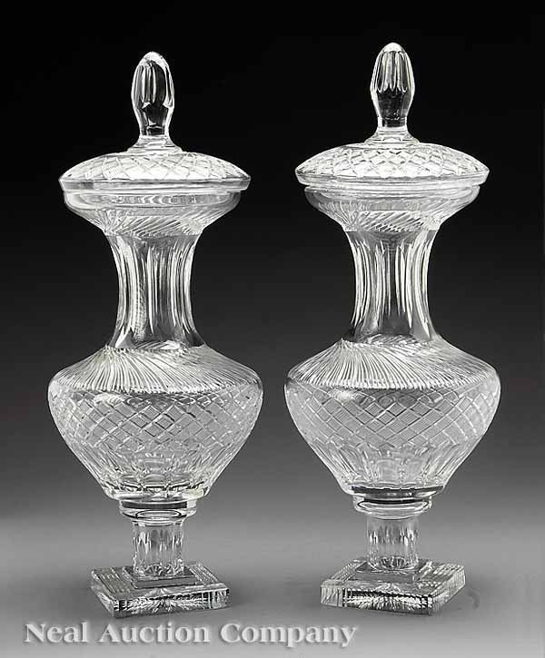 0688: Pair of Monumental Cut Glass Covered Urns