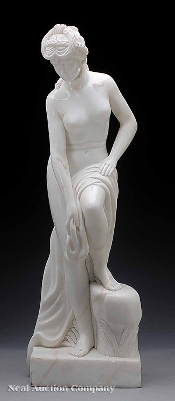 0689: Italian Marble Sculpture of a Classical Bather