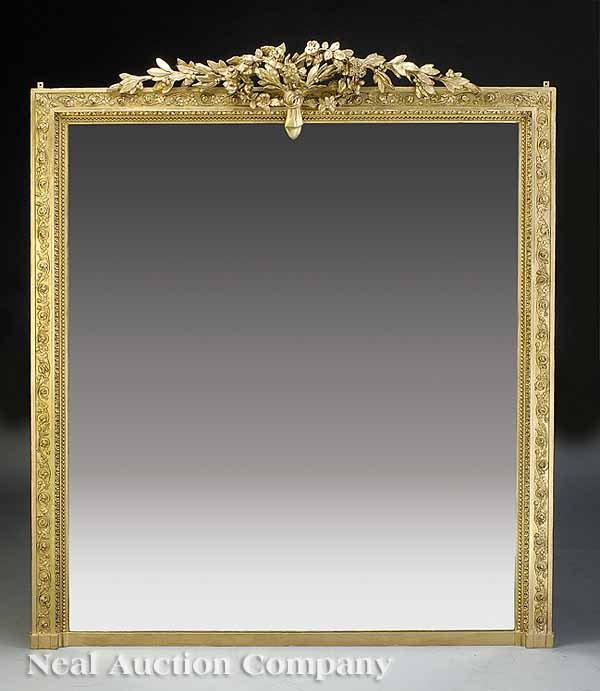 0691: Louis XVI-Style Carved Giltwood Mirror