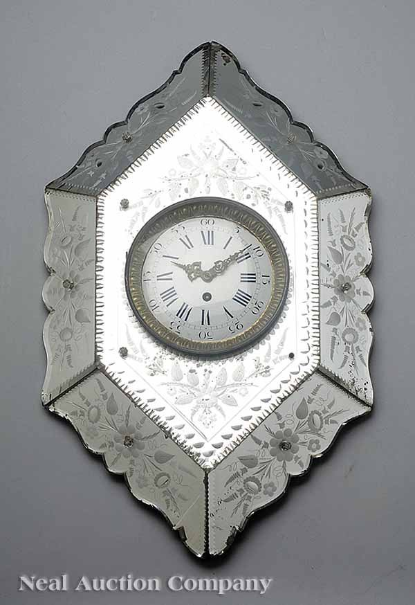 0692: Antique French Mirrored Wall Clock