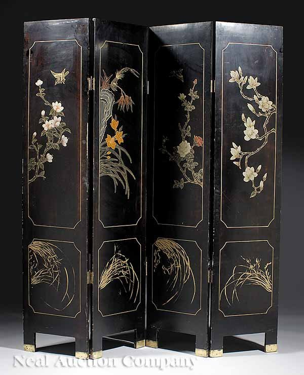 0693: Chinese Black Lacquer and Mother-of-Pearl Screen