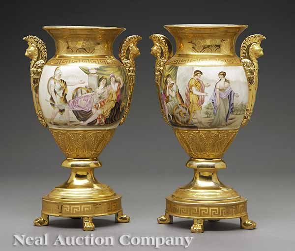 0697: Pair of KPM Porcelain Garniture Vases
