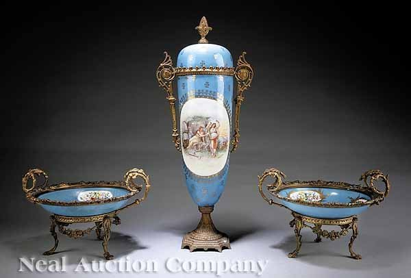 0700: Sevres-Style Porcelain and Gilt Metal Garniture