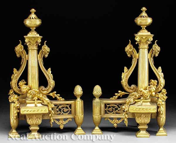 0702: Pair of Louis XVI-Style Gilt Bronze Chenets