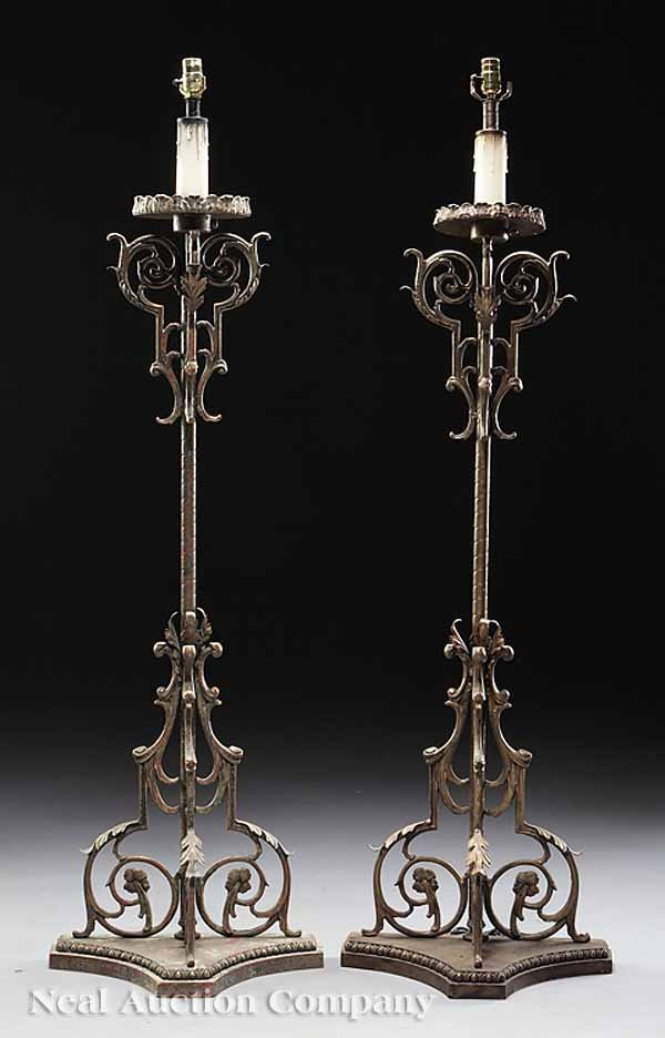 0703: Pair of Painted Wrought Iron Torcheres