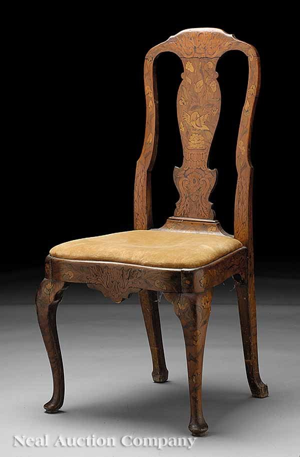 0704: Antique Dutch Marquetry Chair