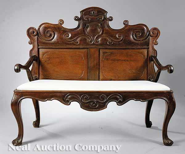 0705: Spanish Colonial Walnut Settee