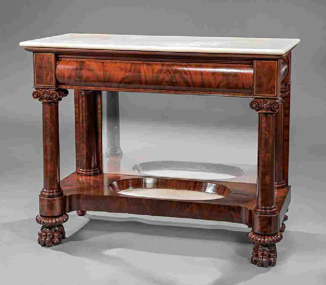 """Carved Mahogany Pier Tables, labeled """"Quervelle"""""""