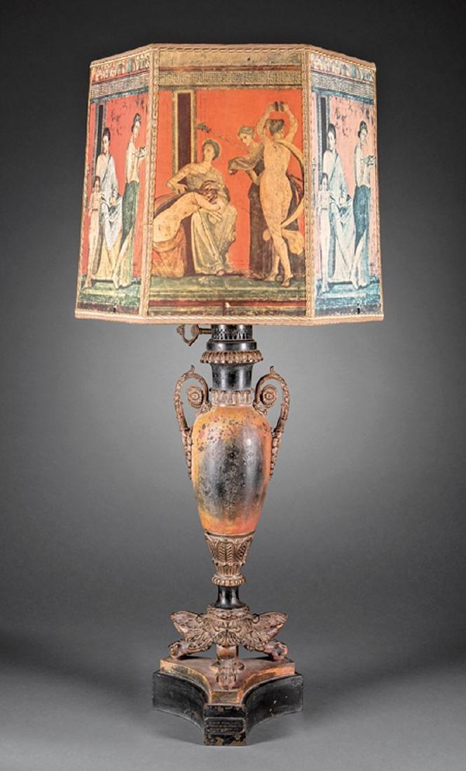 ORNATE 19TH CENTURY CARCEL LAMP Tole