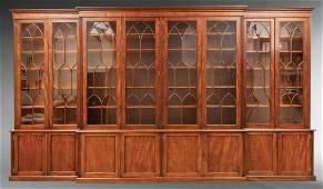 Mahogany Four-Part Breakfront Bookcase