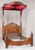 American Rococo Carved Rosewood Half-Tester Bed