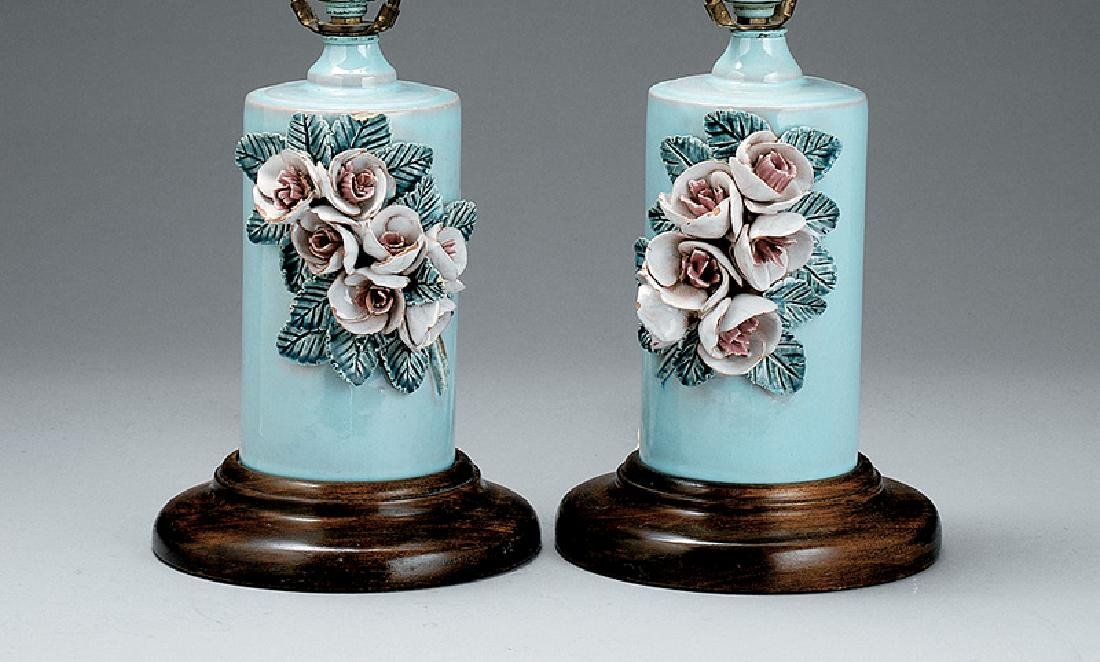 Pair of Pale Blue Pottery Lamps