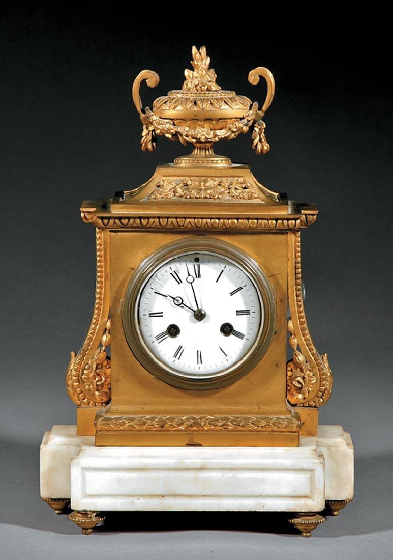 Antique French Gilt Bronze & Marble Mantel Clock