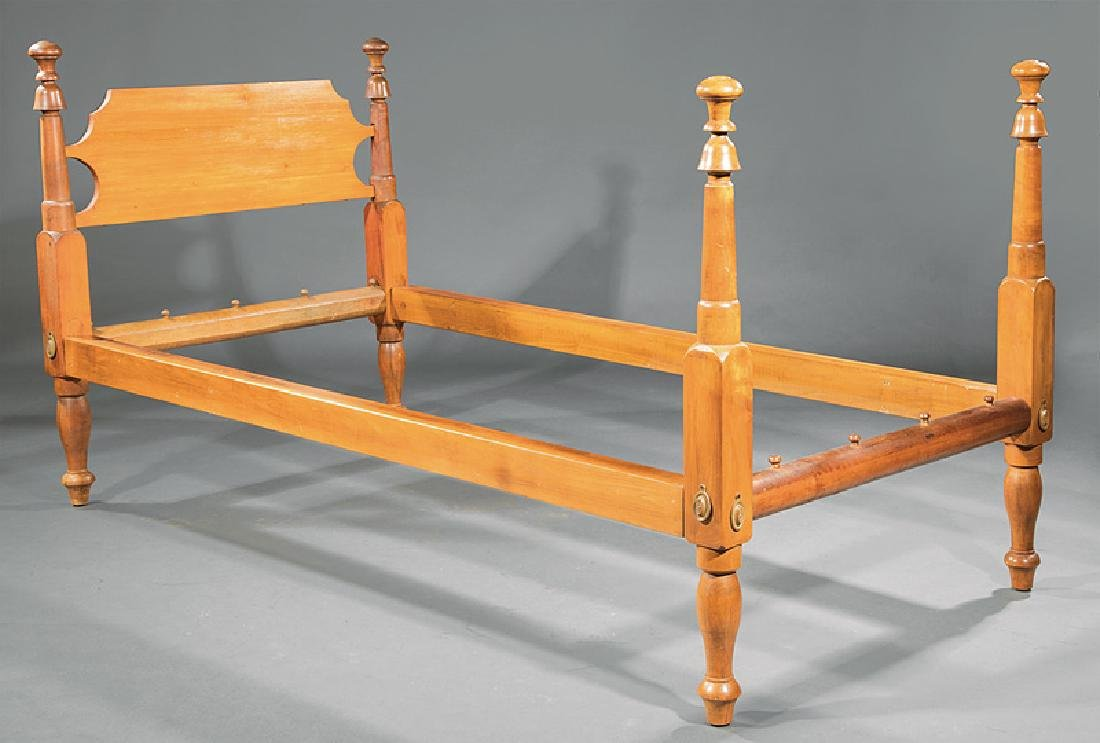 Pair of American Federal Carved Maple Beds