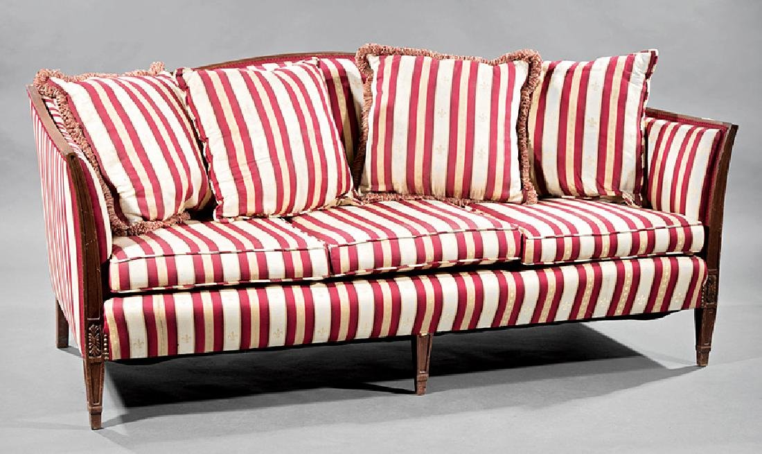 Hepplewhite-Style Carved Mahogany Sofa
