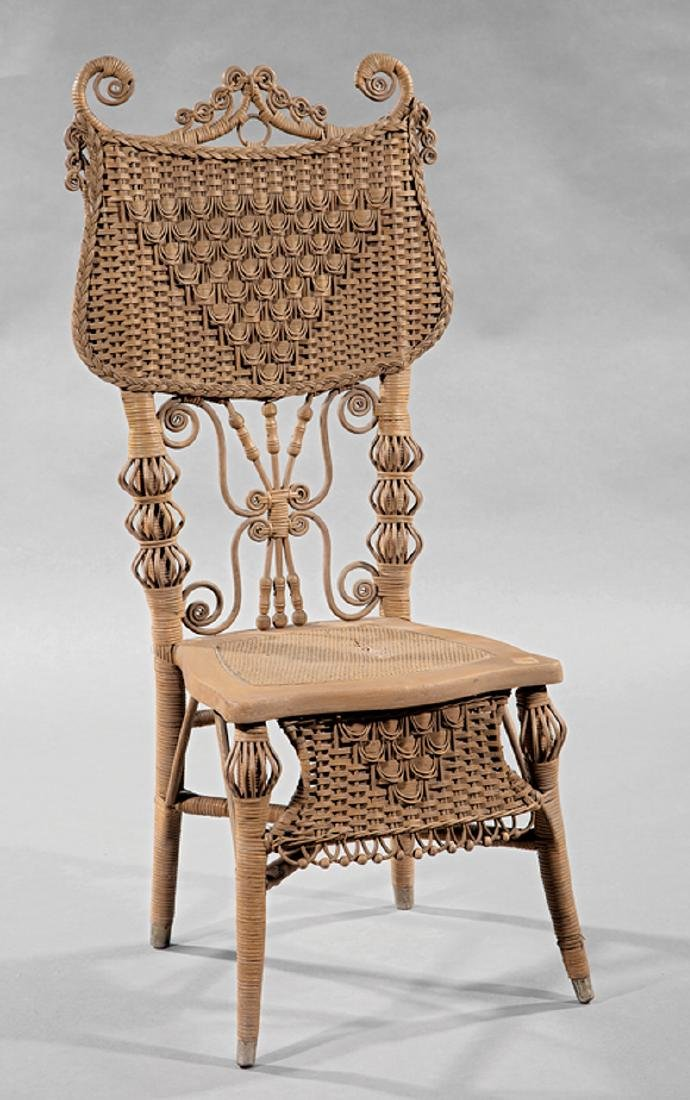 Antique American Painted Wicker Side Chair