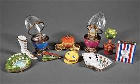 Ten Limoges Porcelain Boxes