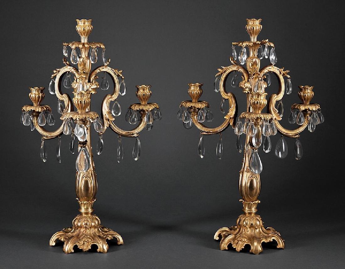 Pair of Louis XV-Style Gilt Bronze Four-Lig