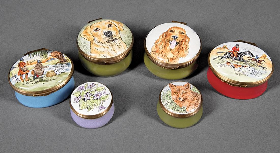 Six English Crummles Enamel Boxes