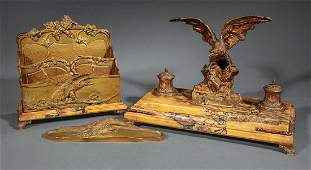 French Bronze and Sienna Marble Desk Set