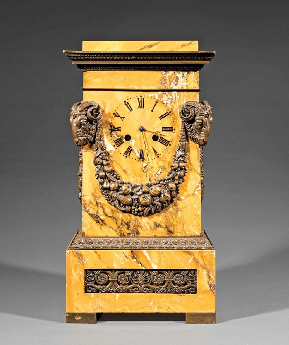 Bronze-Mounted Sienna Marble Mantel Clock