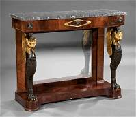 Carved Ebonized and Gilded Mahogany Pier Tables