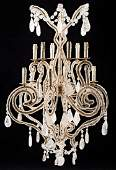 Gilt Metal Rock and Cut Crystal Chandeliers