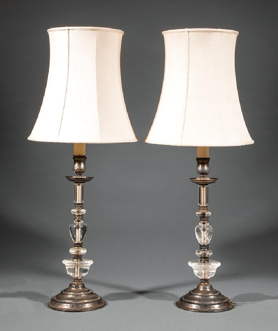 French Rock Crystal and Silverplate Lamps