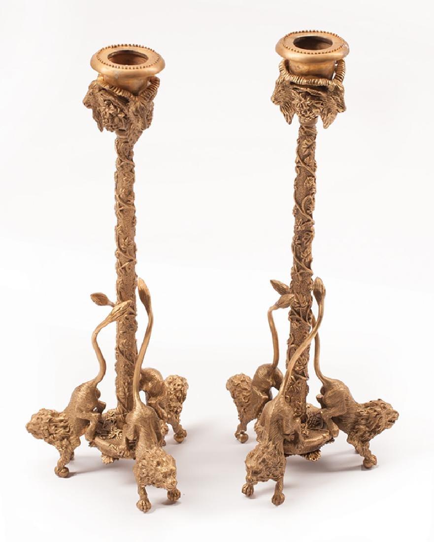 Pair of Gilt Bronze Figural Candlesticks