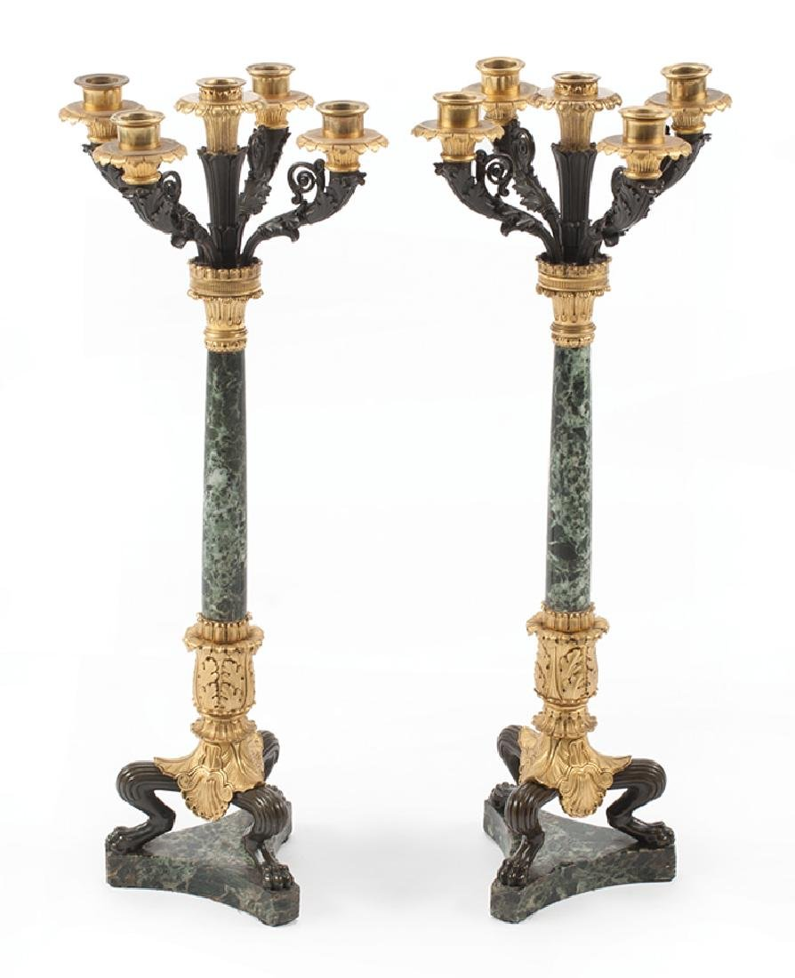 French Gilt, Patinated Bronze, Marble Candelabra