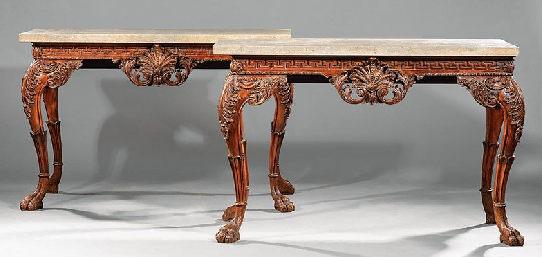 Georgian-Style Carved Mahogany Consoles