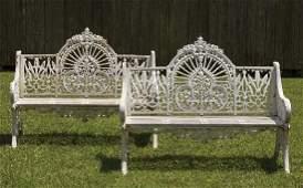 English or American Cast Iron Garden Benches