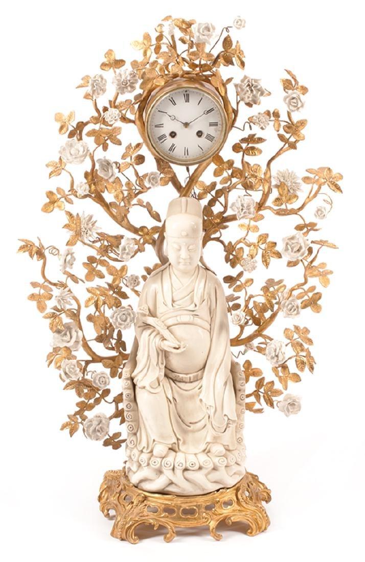 Chinese Gilt Bronze, Enamel Clock
