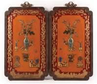 Chinese Enamel Embellished Lacquered Panels