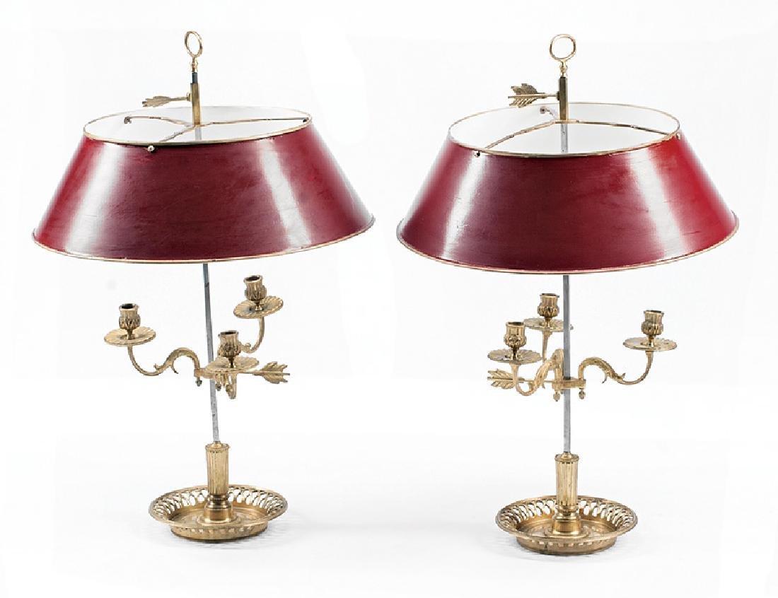 Empire-Style Gilt Bronze Bouillotte Lamps