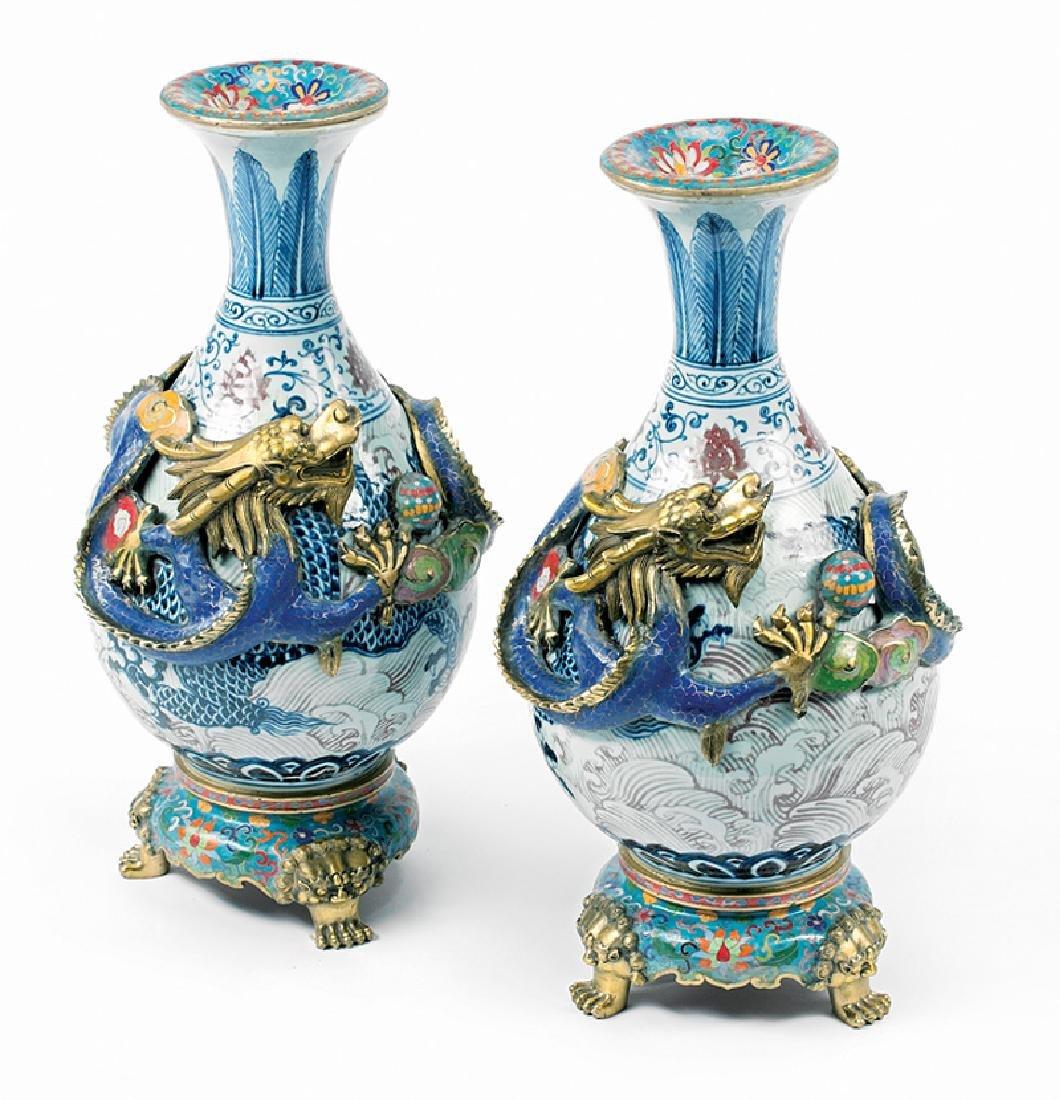 Cloisonné Enamel-Mounted, Porcelain Vases