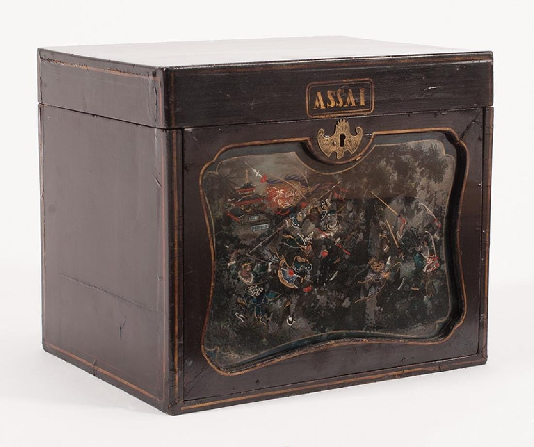 """Chinese Export Lacquered Wood """"Assai"""" Tea Caddy"""