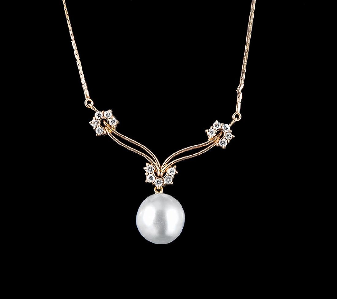 Gold, South Sea Pearl, Diamond Pendant Necklace
