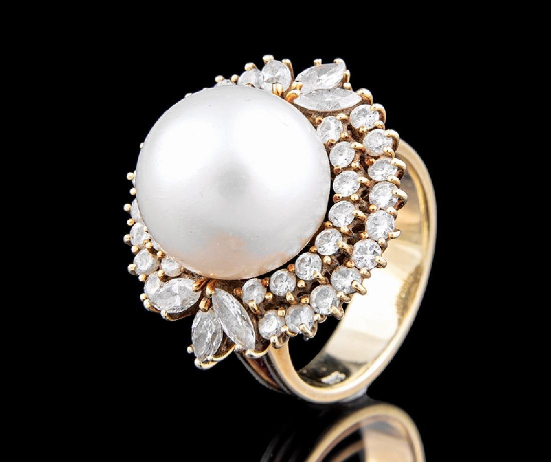 Gold, South Sea Cultured Pearl, Diamond Ring