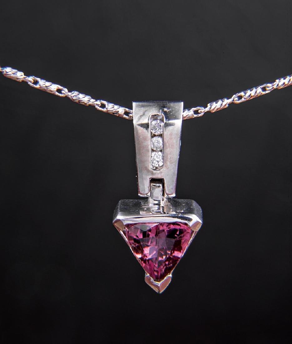 Gold, Pink Tourmaline and Diamond Pendant