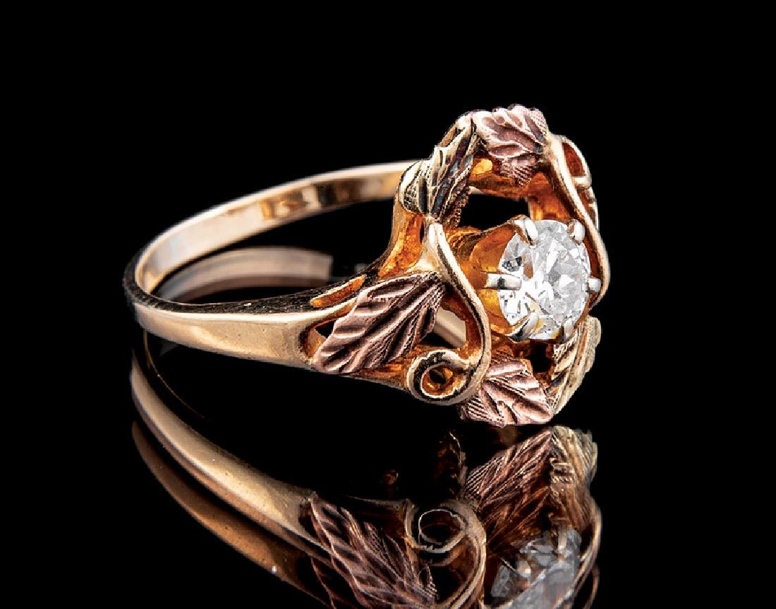Yellow, Rose and Green Gold and Diamond Ring