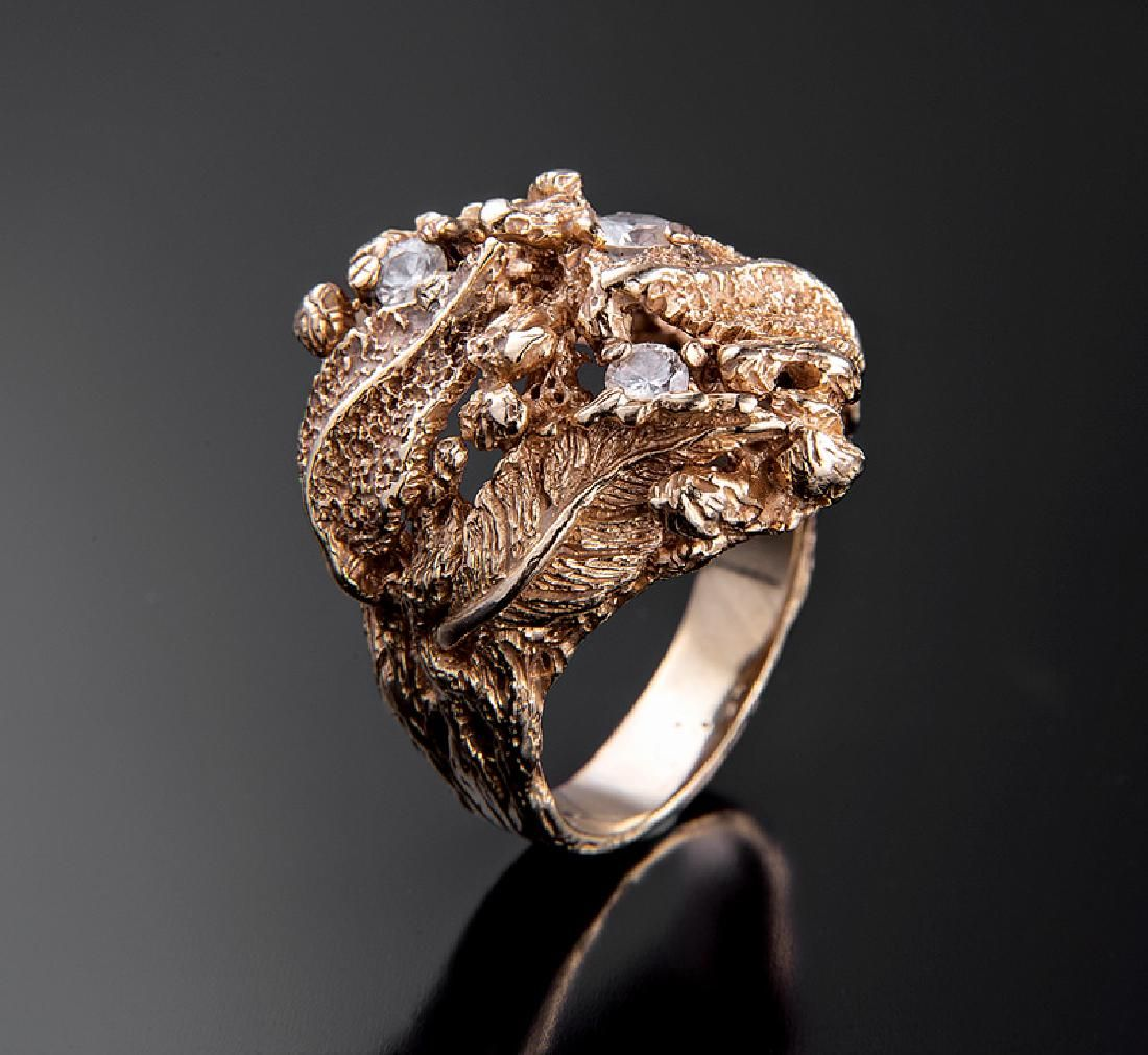 Yellow Gold and Diamond Cocktail Ring
