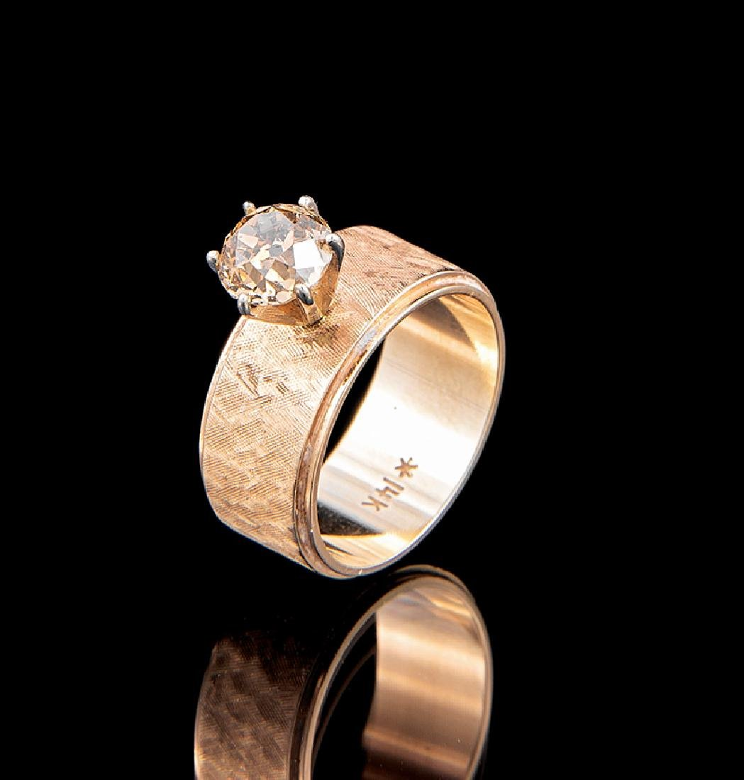 Yellow Gold and Natural Fancy Brown Diamond Ring