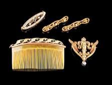 American Art Nouveau Yellow Gold Jewelry