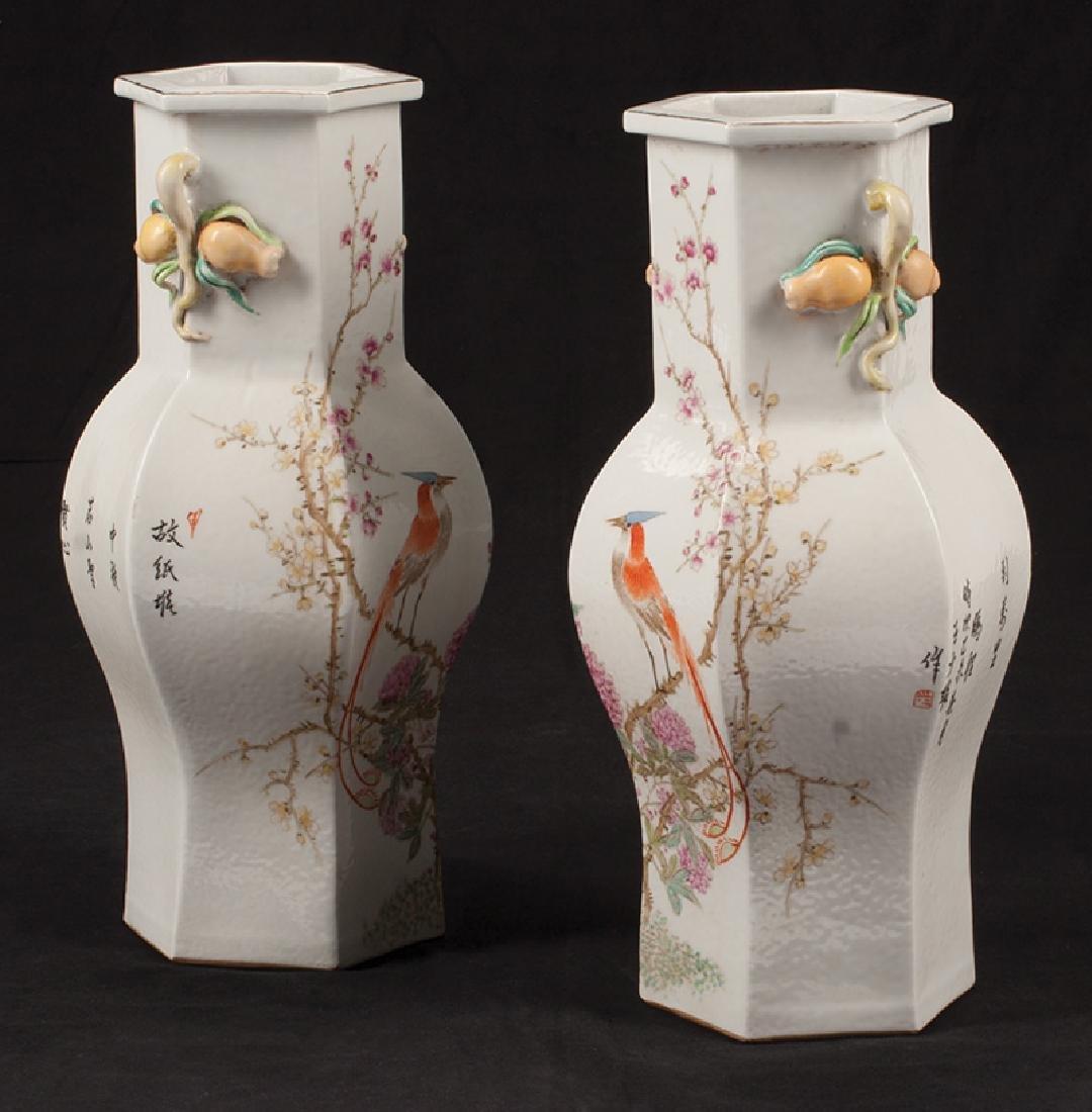 Chinese Famille Rose Porcelain Hexagonal Vases