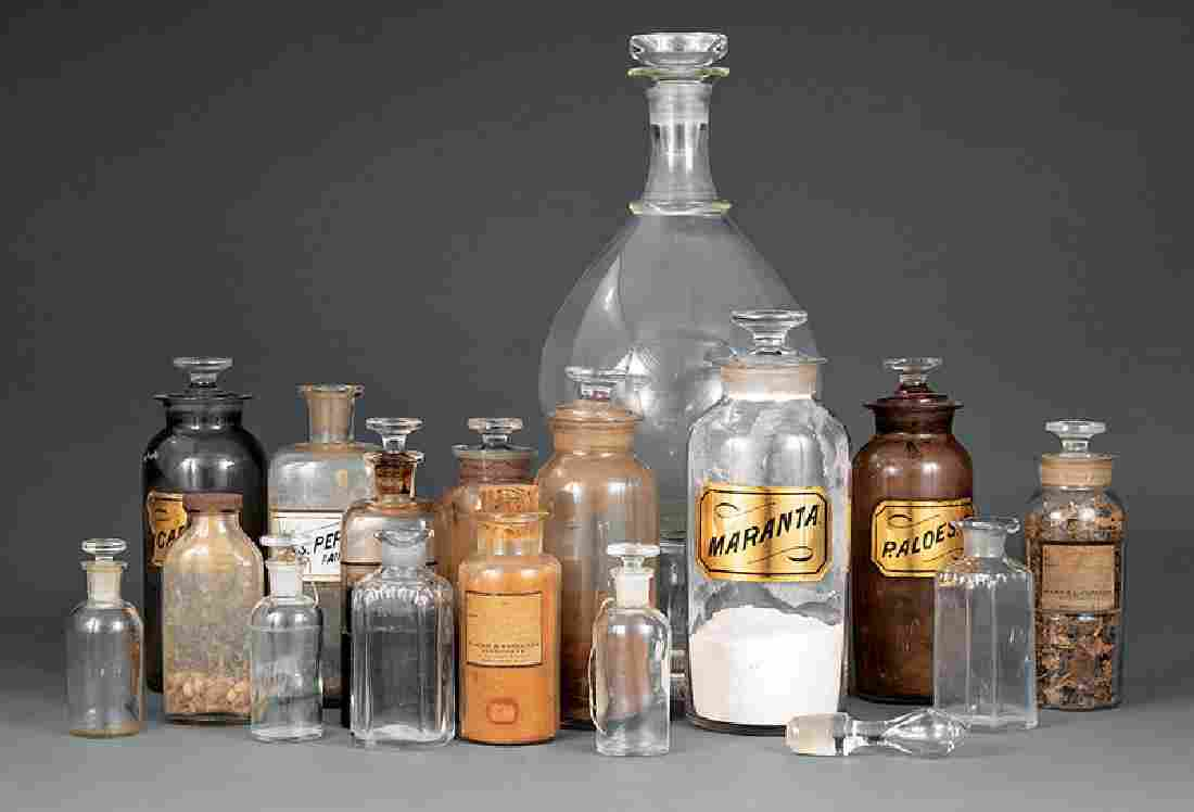 Sixteen Glass Apothecary Jars and Bottles