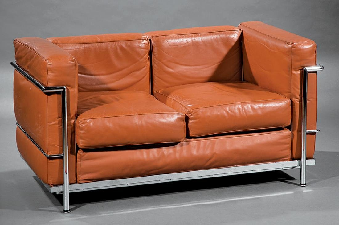 Corbusier-Style Chromed Steel and Leather Sofa
